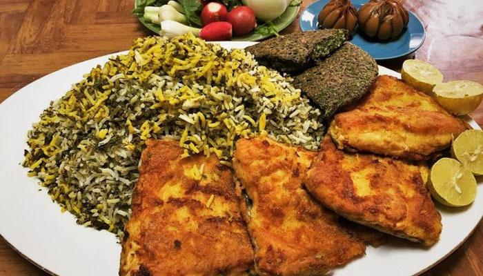 سبزی پلو با ماهی شب عید